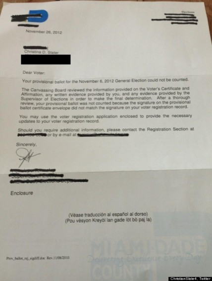 Christian Slater's Ballot Rejection letter. I guess they will say he's obscure and no one recognized him?
