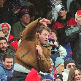 Fans acting rude and dangerous at 1995 New York Giants game. Jeffrey Lange is the diuche in the photo. He became face of the ugly semi riot